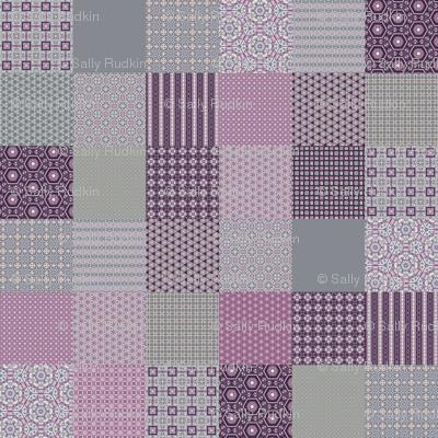 "Lavender Garden Stitched Cheater Quilt - 6"" Squares"