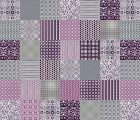 "Lavender Garden Stitched Cheater Quilt - 6"" Squares fabric by stitchinspiration on Spoonflower - custom fabric"