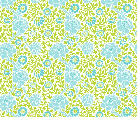 Apple Green and Turquoise Retro Floral Damask