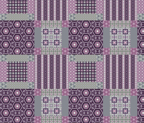 Lavender Garden Stitched Cheater Quilt fabric by stitchinspiration on Spoonflower - custom fabric