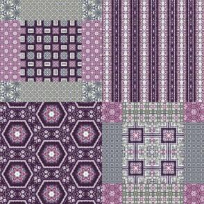 Lavender Garden Stitched Cheater Quilt