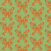 Butterfly Pattern {orange on green}