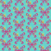 Butterfly Pattern {pink on blue}