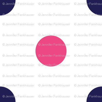 Hot Pink and Navy Blue Polka Dots