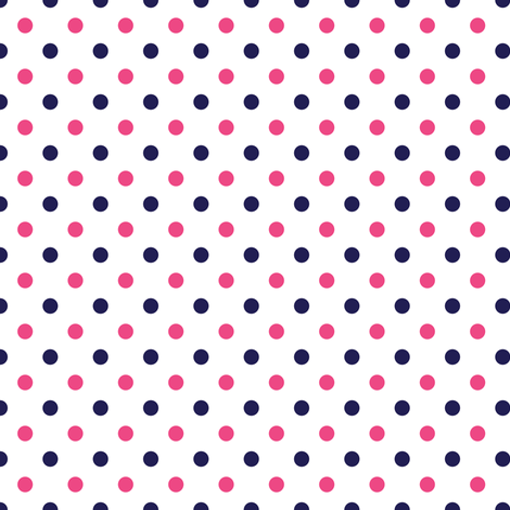 Hot Pink and Navy Blue Polka Dots fabric by sweetzoeshop on Spoonflower - custom fabric