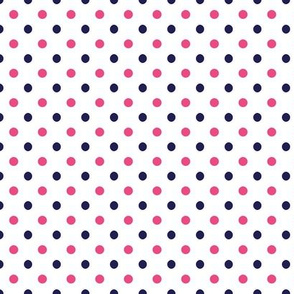 Hot Pink and Navy Blue Polka Dots