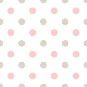Light Pink and Linen Polka Dots