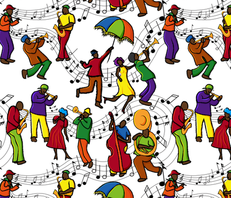 Jazzy Mystical Music Krewe fabric by vo_aka_virginiao on Spoonflower - custom fabric