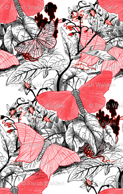 Moth Ridden Botanical ~ Red, Black &amp; White and Tight