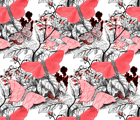 Moth Ridden Botanical ~ Red, Black & White and Tight fabric by peacoquettedesigns on Spoonflower - custom fabric