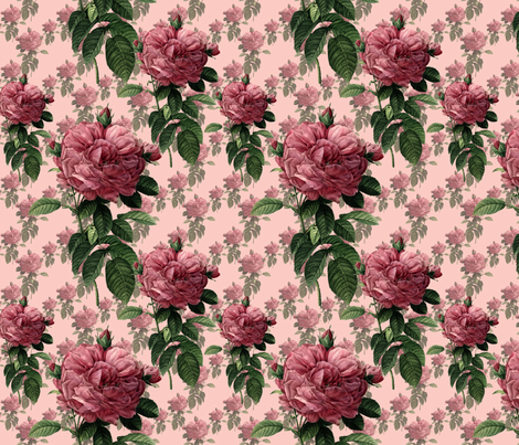 Redoute' Roses ~ Sweet Pink fabric by peacoquettedesigns on Spoonflower - custom fabric