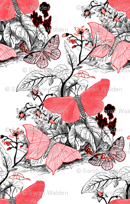 Moth Ridden Botanical ~ Red, Black & White