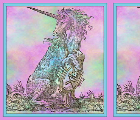 16th Century Unicorn Rainbows Framed - Pillow fabric by peacoquettedesigns on Spoonflower - custom fabric