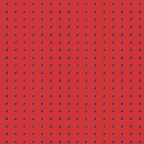 Tiny Triangles - Royal on Red fabric by little_fish on Spoonflower - custom fabric