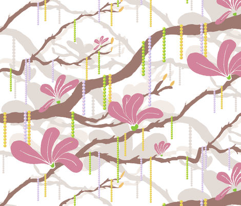 Mardi Magnolia Beads fabric by creative_merritt on Spoonflower - custom fabric