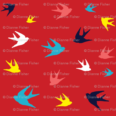Mini Sparrows in Flight - red / navy / blue / yellow / white