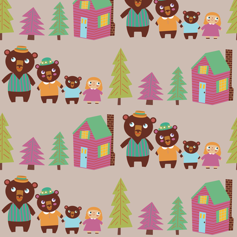 Goldilocks & The Three Bears Stripe fabric by heidikenney on Spoonflower - custom fabric