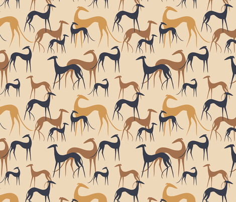 Sighthounds desert fabric by lobitos on Spoonflower - custom fabric