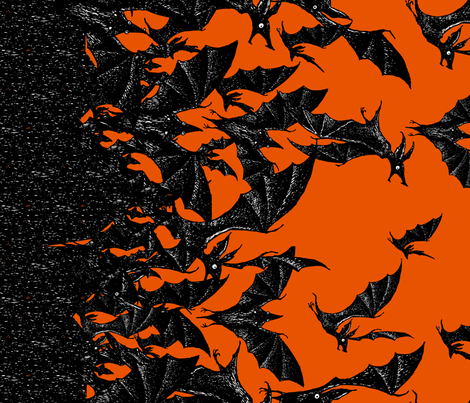 Night Hunters border - pumpkin fabric by jwitting on Spoonflower - custom fabric