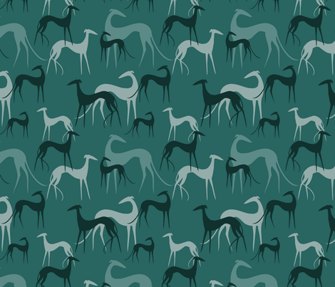 Sighthounds emerald fabric by lobitos on Spoonflower - custom fabric