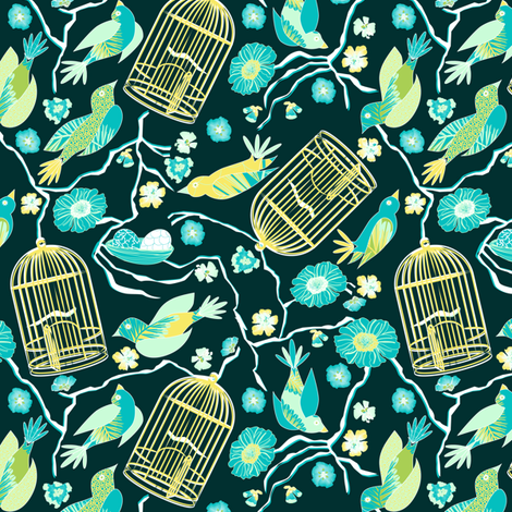 Garden Escape Teal fabric by mag-o on Spoonflower - custom fabric