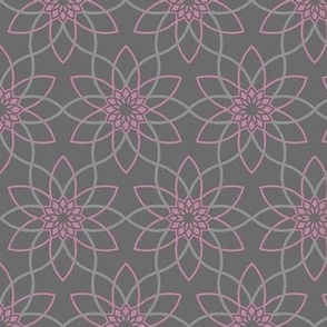 Geo flower in gray/pink