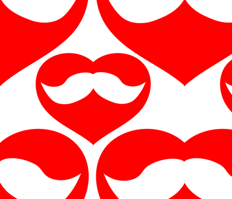 Mustache inside Red Heart fabric by lesrubadesigns on Spoonflower - custom fabric