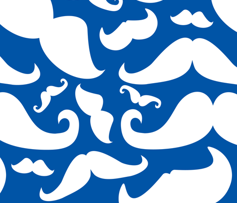 Mustaches Abstract Dark Blue and White