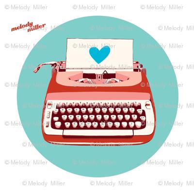 typewriter circle wall decal