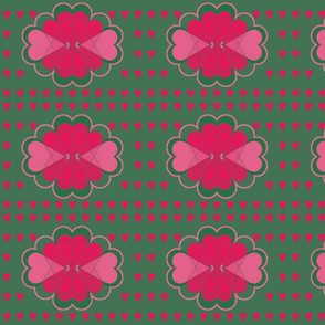 Pink Valentine Hearts on Emerald Green