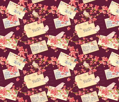 Love Letters and Cherry Blossoms fabric by diane555 on Spoonflower - custom fabric