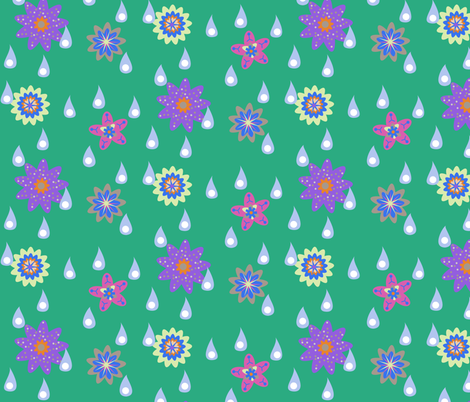 Rain and Fairy Flowers - Spring fabric by telden on Spoonflower - custom fabric
