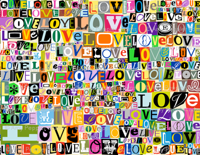 Letters of L-O-V-E  || valentine valentines day love collage ransom note romance alphabet typography collage