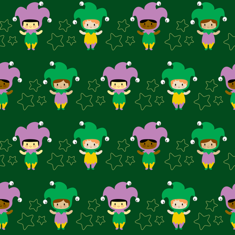 Kawaii jesters fabric by petitspixels on Spoonflower - custom fabric