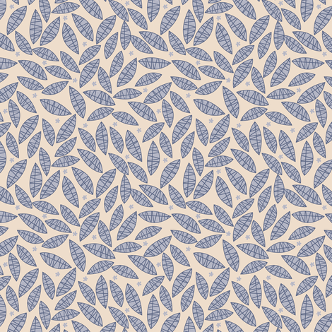 Leaves neutral fabric by laura_the_drawer on Spoonflower - custom fabric