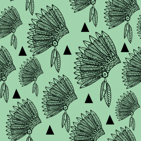 Headdress - mint fabric by laura_the_drawer on Spoonflower - custom fabric