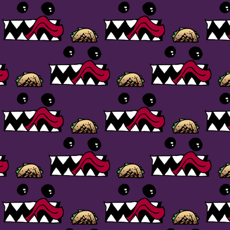 Taco Monster fabric by pond_ripple on Spoonflower - custom fabric