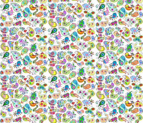 paisley birds fabric by krs_expressions on Spoonflower - custom fabric