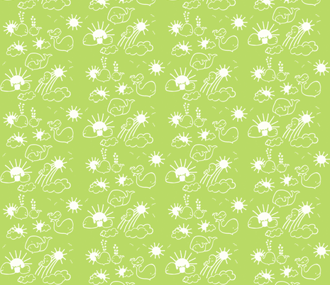 You Are My Sunshine Whales in Green and White fabric by kbexquisites on Spoonflower - custom fabric