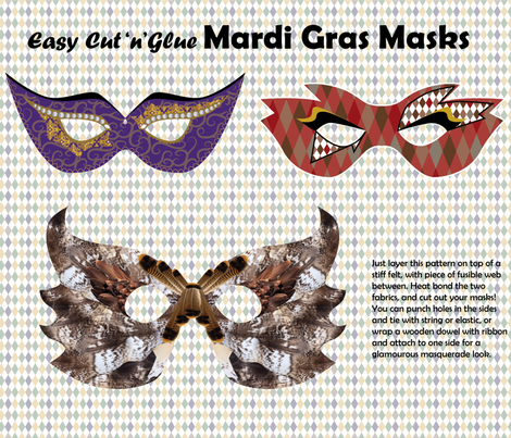 Cut'n'Glue Family Mardi Gras Masks fabric by fortheloveofholidays on Spoonflower - custom fabric