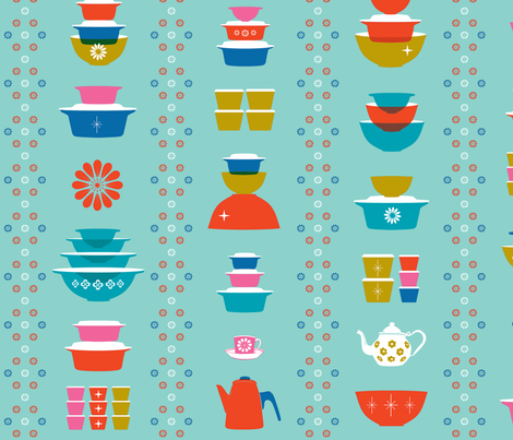 happy dishes wallpaper fabric by melodymiller on Spoonflower - custom fabric