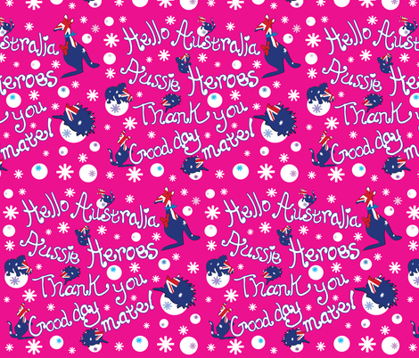 Hello Australia Aussie Heroes Thank you fabric by cutiecat on Spoonflower - custom fabric