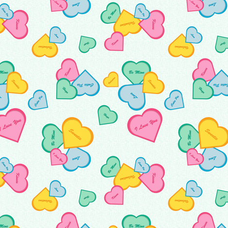 Hearts on Green fabric by designtrends on Spoonflower - custom fabric
