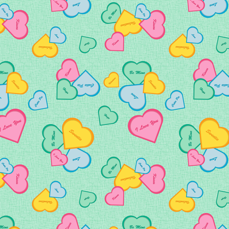 Valentines - green fabric by jjtrends on Spoonflower - custom fabric
