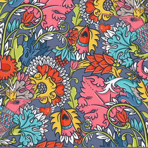 Vintage floral seamless pattern with bird