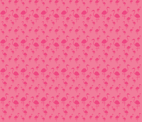 Flamingos in Hot Pink on Pink fabric by little_fish on Spoonflower - custom fabric