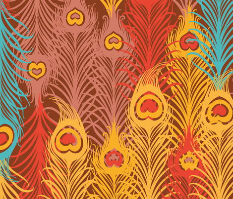 Seamless pattern with_ vintage_feather fabric by tomuato on Spoonflower - custom fabric