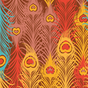 Seamless pattern with_ vintage_feather
