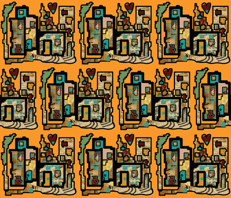 Heartbeat City Hot (small scale repeat) fabric by anniedeb on Spoonflower - custom fabric