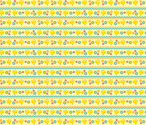 Chicks & Flowers Yellow fabric by edmillerdesign on Spoonflower - custom fabric